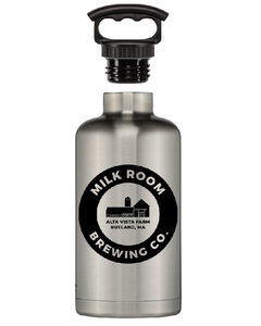 Fifty/fifty stainless growler featuring the Milk Room Brewing logo