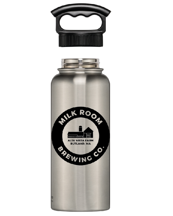 Fifty/fifty wide mouth featuring the Milk Room Brewing Logo