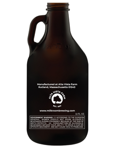 glass mini growler featuring the Milk Room Brewing logo back