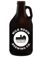 Load image into Gallery viewer, glass min growler featuring the Milk Room Brewing logo front