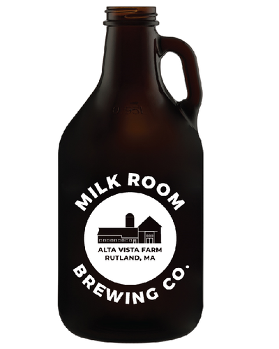 glass min growler featuring the Milk Room Brewing logo front