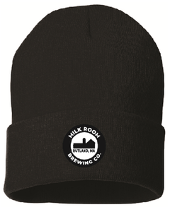 Black stocking cap featuring the Milk Room Brewing logo