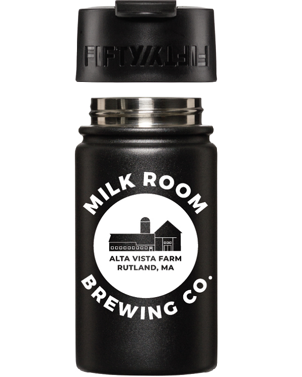 Matt black Fifty/Fifty vacuum bottle featuring the Milk Room Brewing logo