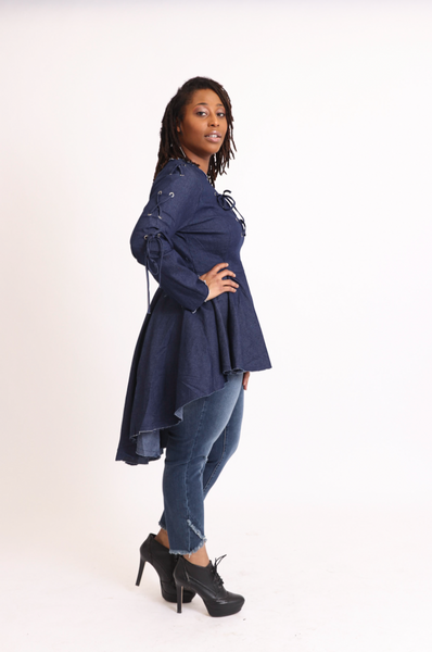 Blue Denim Peplum Tunic Top