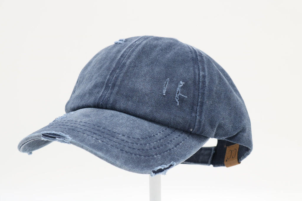 Distressed Ladder High Ponytail CC Ball Cap