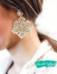 Cocoa and Christmas Snowflake Earrings