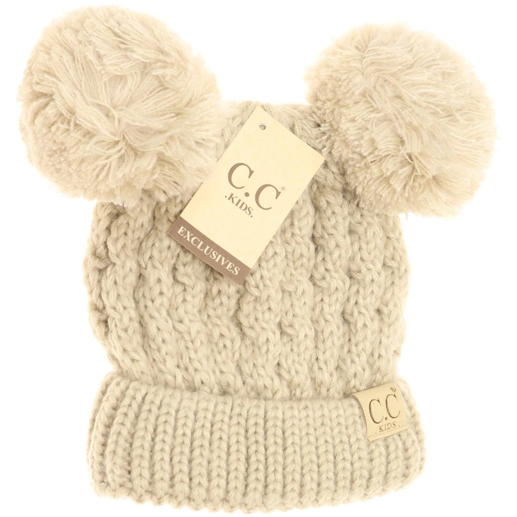 Kids Solid Double Pom Beanie
