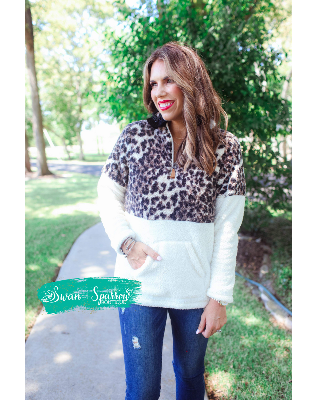 Leopard Print Pullover with Kangaroo Pocket