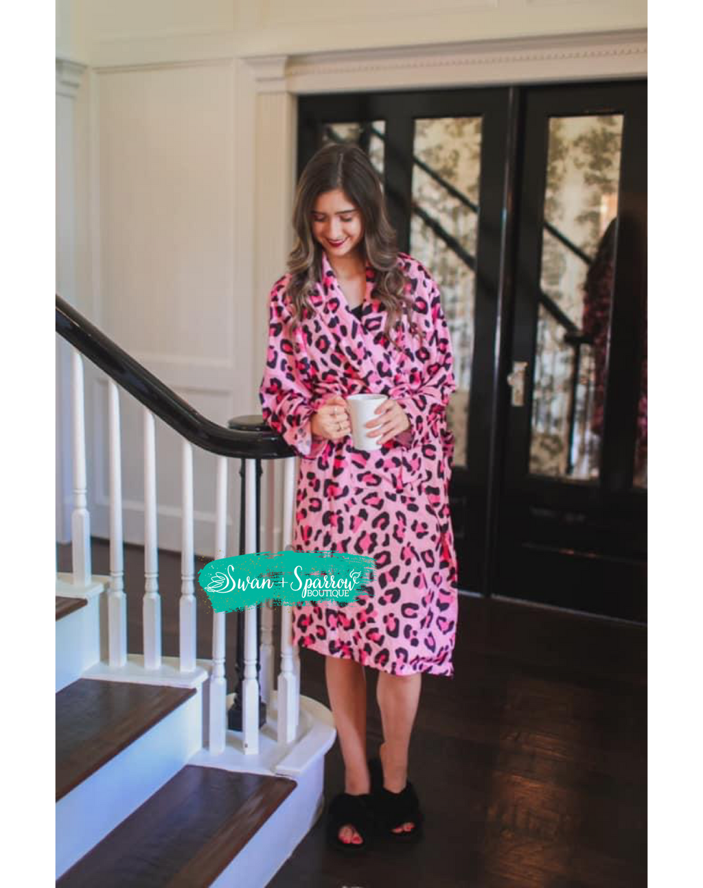 Pretty in Pink Leopard Silky Robe