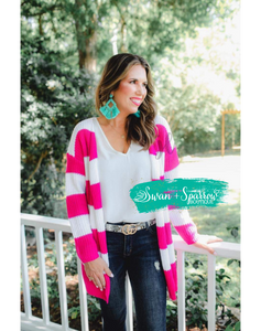Hot Pink Striped Knit Cardigan