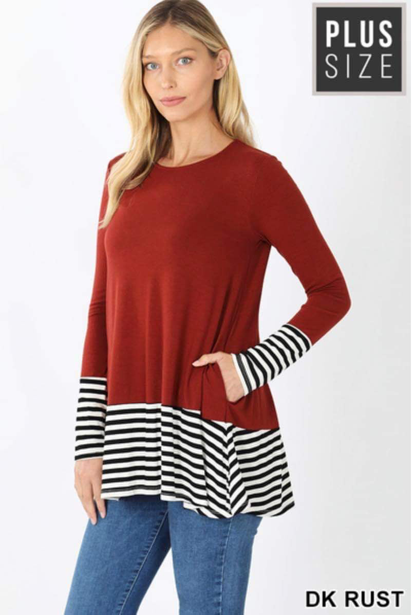 Rust Striped Top