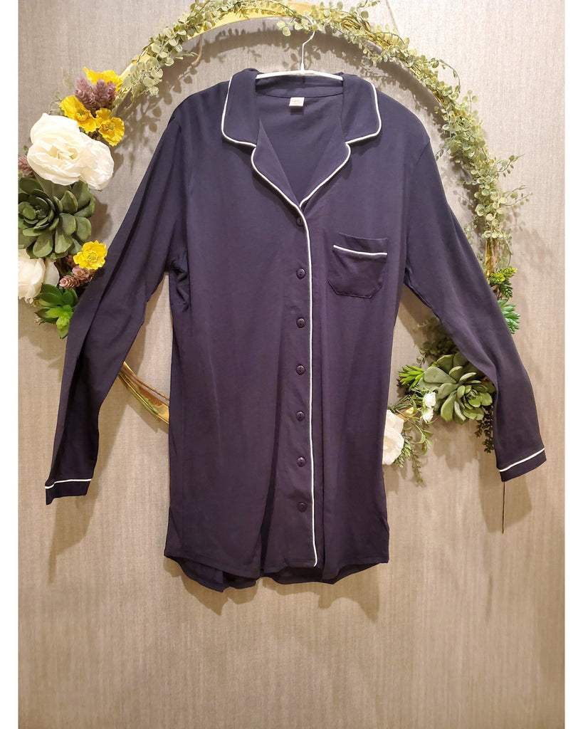 Piped front Night shirt Pajamas