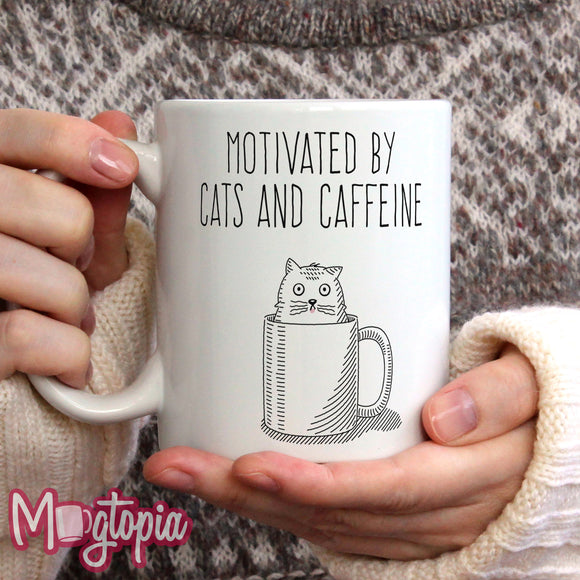 Motivated By Cats And Caffeine Mug