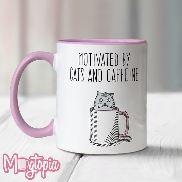 Motivated By Cats And Caffeine Mug (Pink)