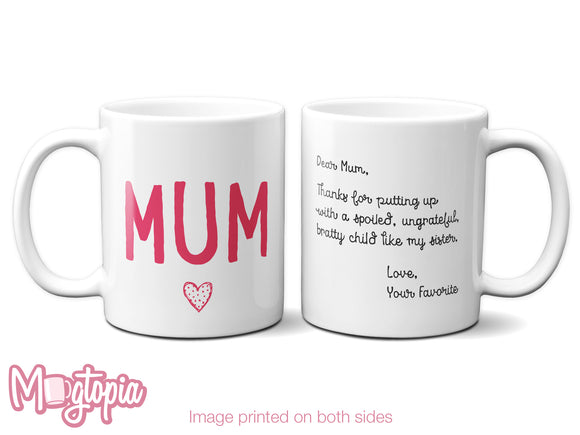 Dear Mum, Love Your Favorite Mug