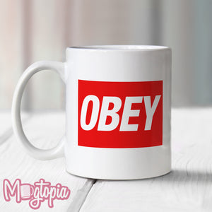 Obey Mug - Thye Live Office Work Xmas Funny Consume Conform