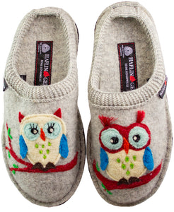Owls on silver grey wool