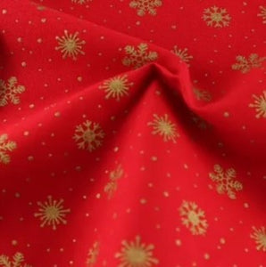 Gold Snowflakes on Red Craft Cotton