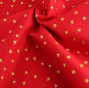 Gold Star on Red Craft Cotton
