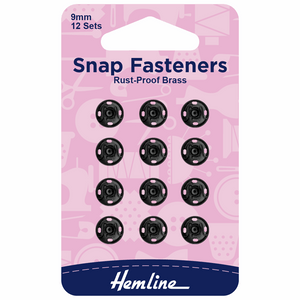 Hemline Black Snap Fasteners 9mm