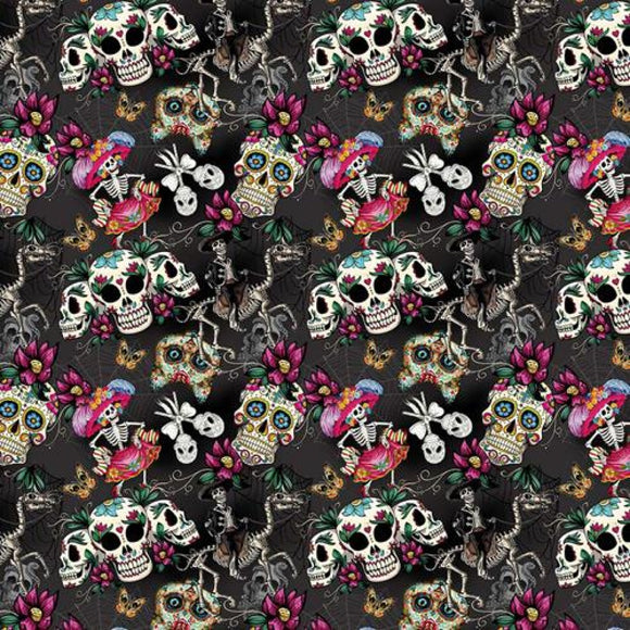 Chatham Glyn Crafty Cotton - Day of the Dead on Black