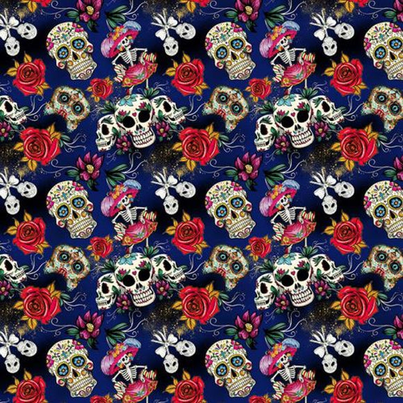 Chatham Glyn Crafty Cotton - Day of the Dead on Blue
