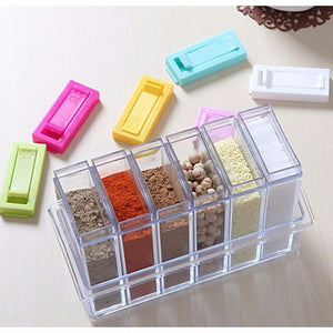 6pcs Clear Plastic Seasoning Box