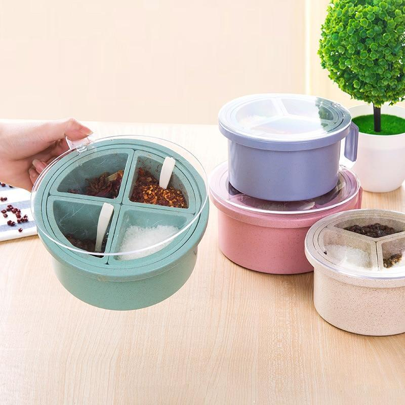 1pcs Spice Jar 4 grid Seasoning Box