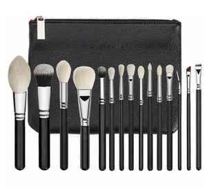15pcs Black Synthetic Hair Makeup Brushes