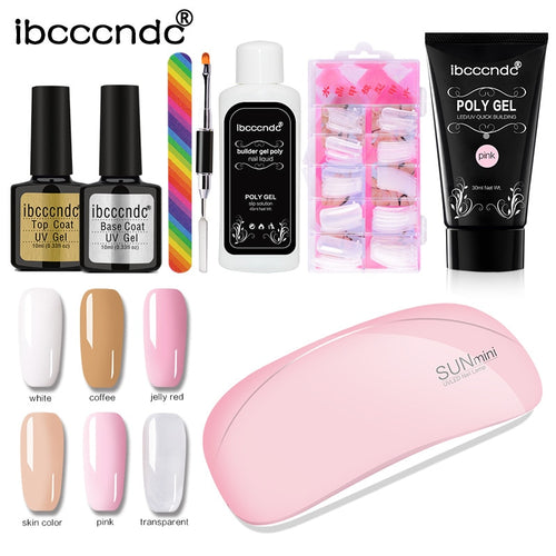 Polygel Nail Kit Complete with UV LED Nail Lamp