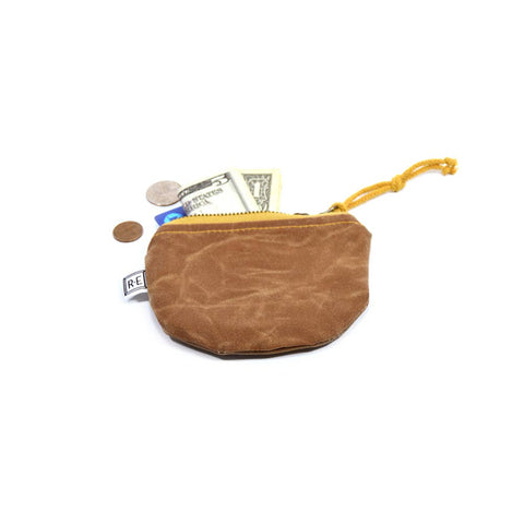 COIN PURSE WAXED CANVAS POUCH - PECAN