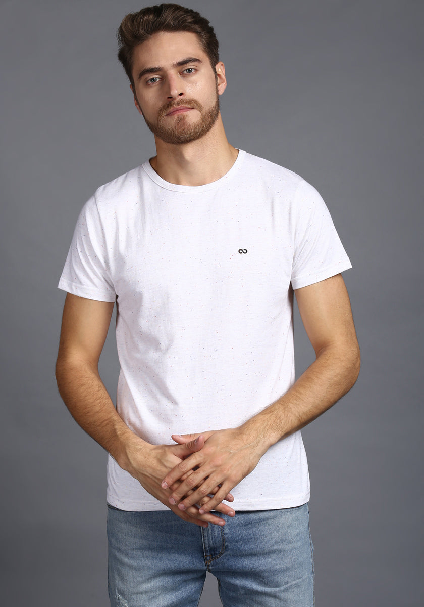 Half Sleeve white Round neck Tee