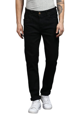 Black Slim Fit Mid Rise Men's Torn Stretch Jeans