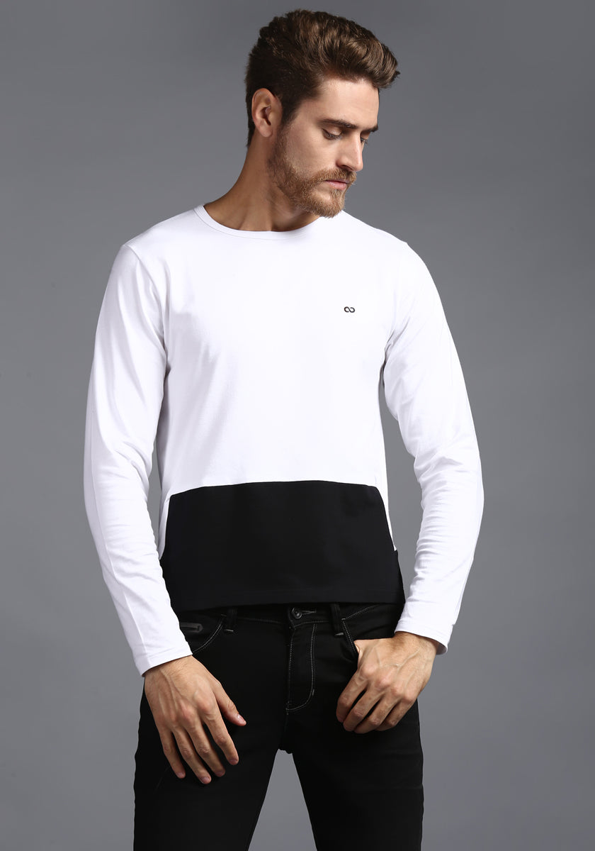 Full sleeve Black and White Round Neck Tee
