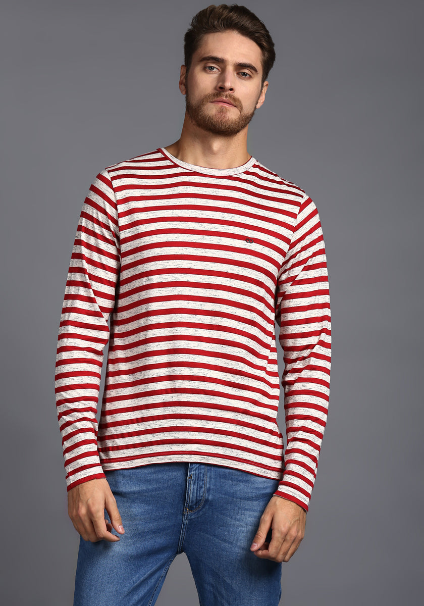 Full sleeve Red and White Stripes Round Neck Tee