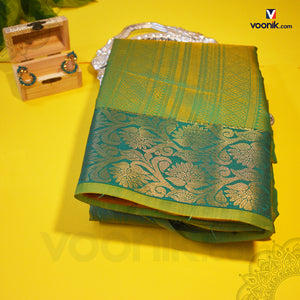 Trendy Green Silk Saree With Full Zari Work