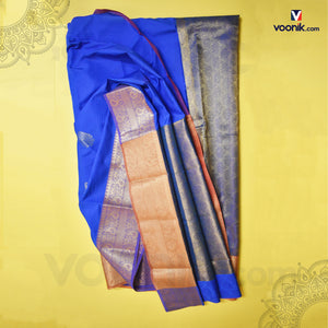 Trendy Blue Silk Saree With Mango Border