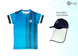 All Day Wear Blue with Black Stripes Tee & Cap Shield Combo