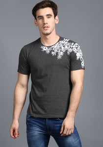 Half Sleeve Charcoal Grey Printed Round neck Tee