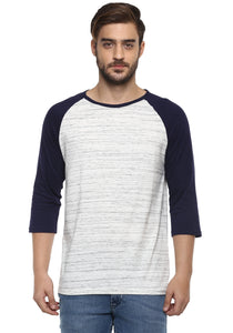 Full sleeve White and Blue Round Neck Tee