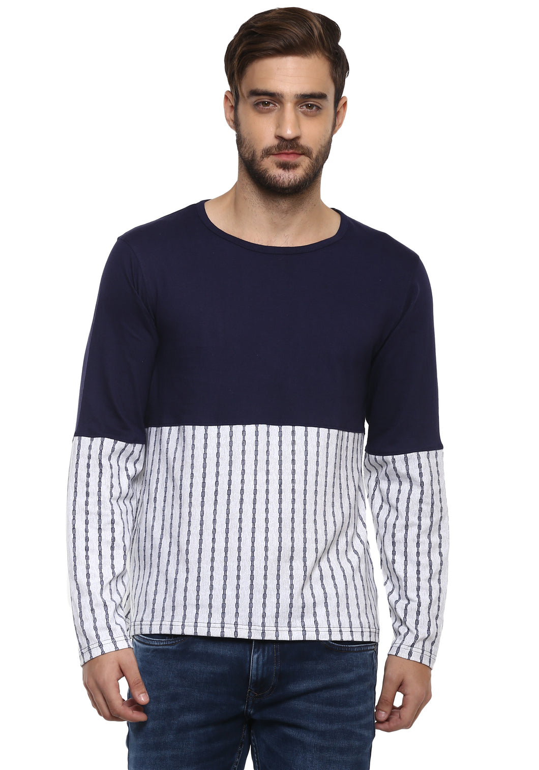 Full sleeve White and Blue Stripes Round Neck Tee