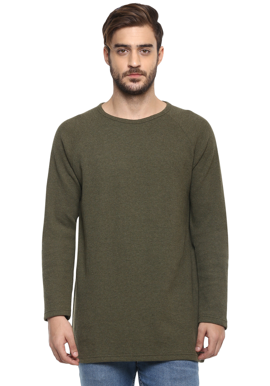 Full sleeve Olive Self Stripes Round Neck Tee