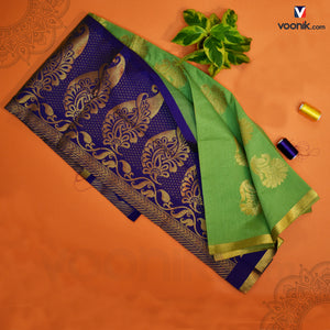Parrot Green Saree With Flower Contrast Border