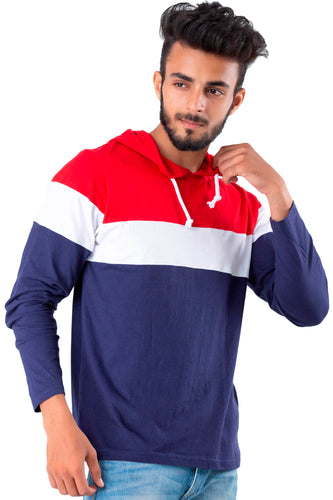 Blue Multicolored Full Sleeve Hooded T-Shirt