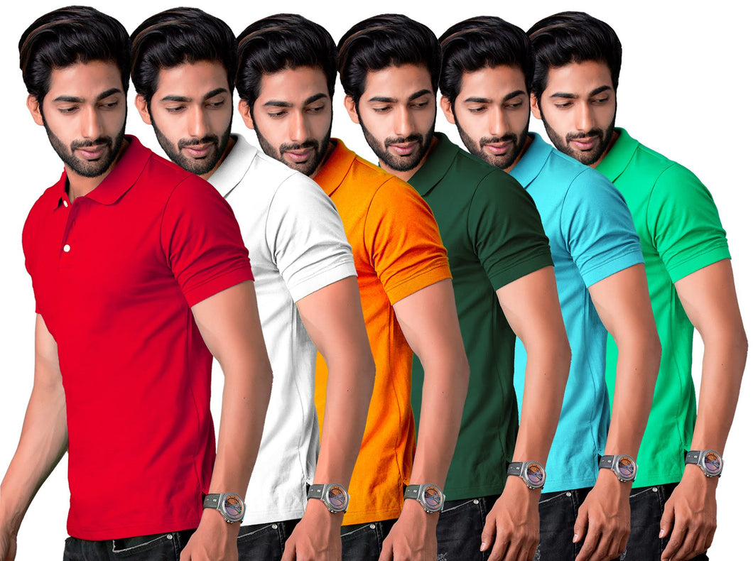 Combo of 6 Half Sleeve multicolored Polo tee