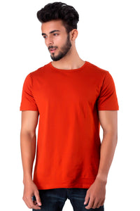 Half Sleeve Orange Plain Round neck Tee