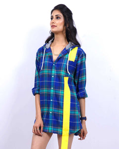 Bollywoo- JUDGEMENTALL HAI KYA Checkered Shirt dress with hoodie