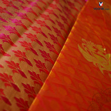 Load image into Gallery viewer, Orange Fancy Borderless Soft Silk sarees