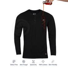 Load image into Gallery viewer, Zero Stain 100% Premium Cotton Full Sleeve Henley T-shirt