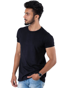 Half Sleeve Black Plain Round Neck Tee